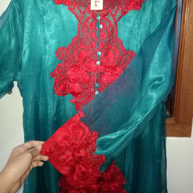 Baju Model Kebaya Bahan Organza Warna Hijau Tosca Ada Dalamannya