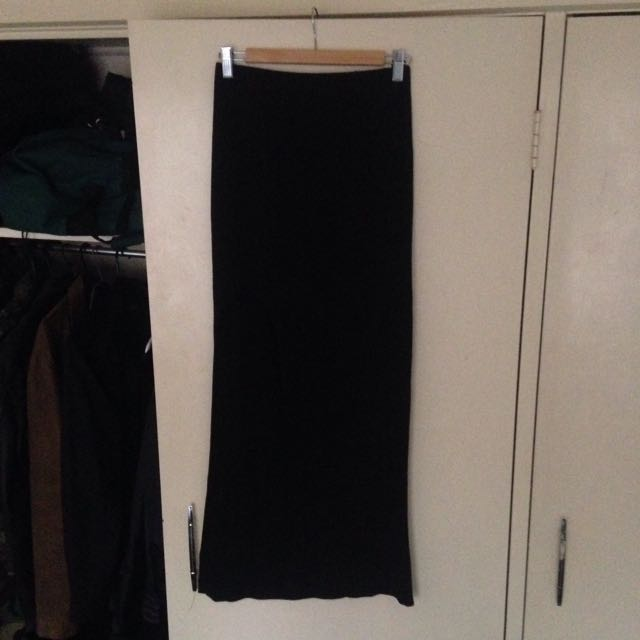 Bardot black maxi split skirt