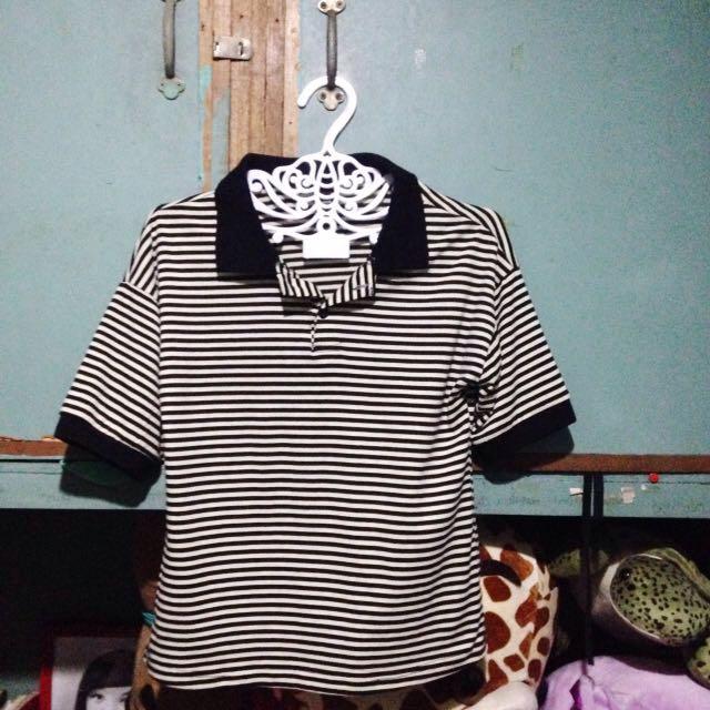 Black and cream stripe poli shirt