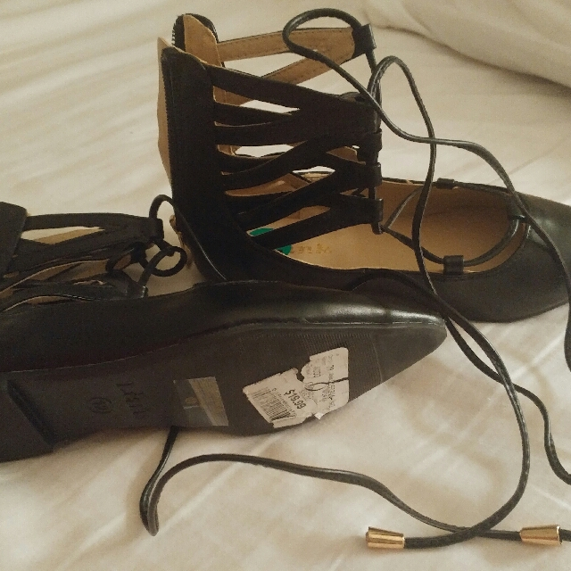 black shoes with tie up laces Size 12