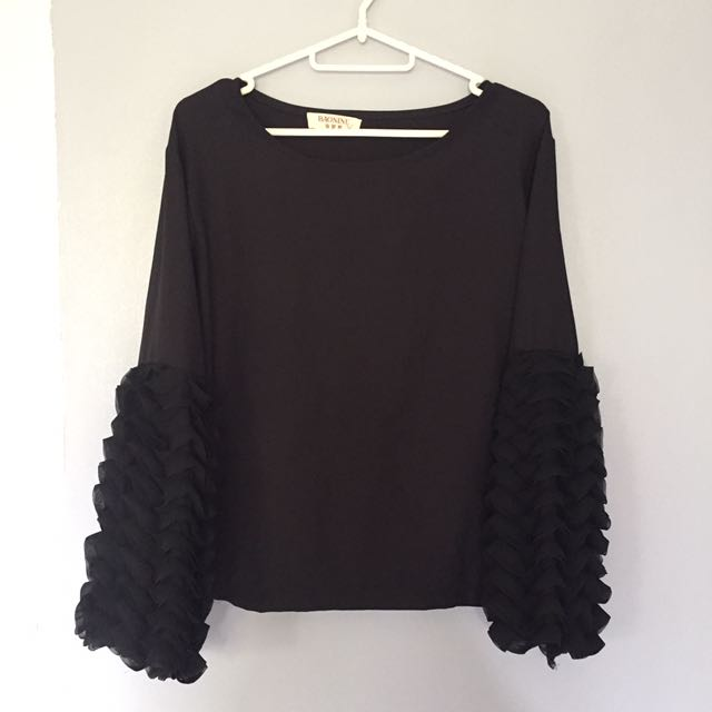 Black Top with Ruffle Sleves