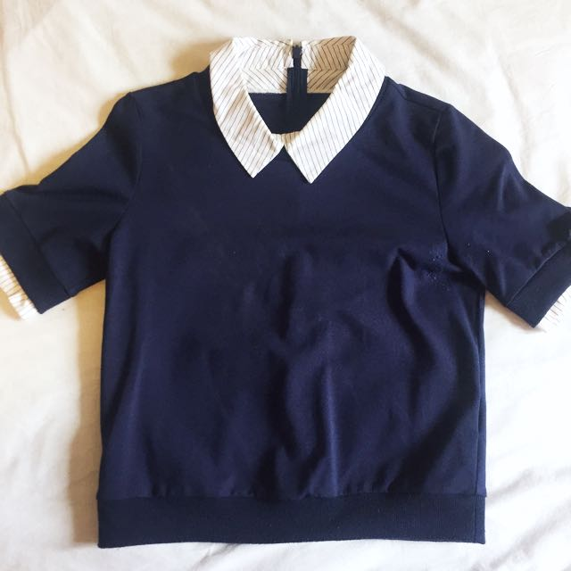 Blouse collared crop top