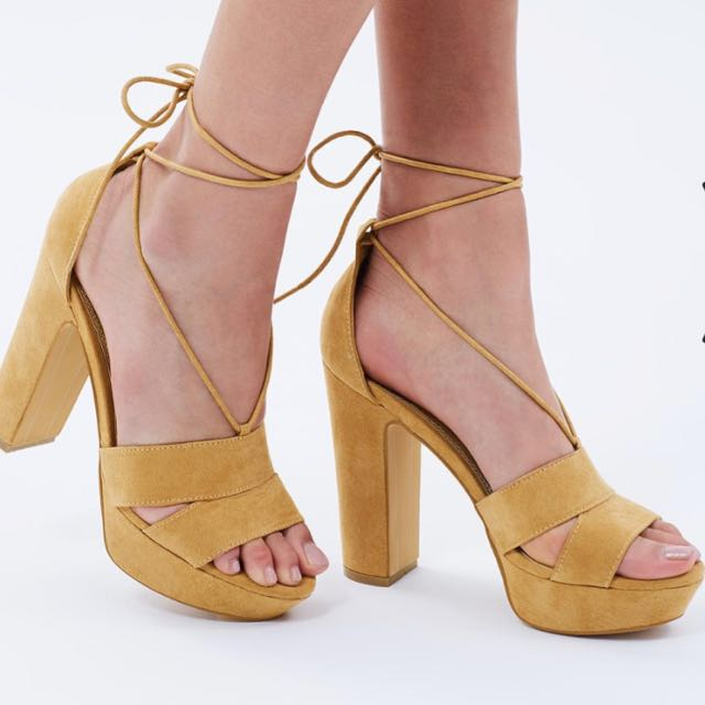 Brand new camel coloured heels