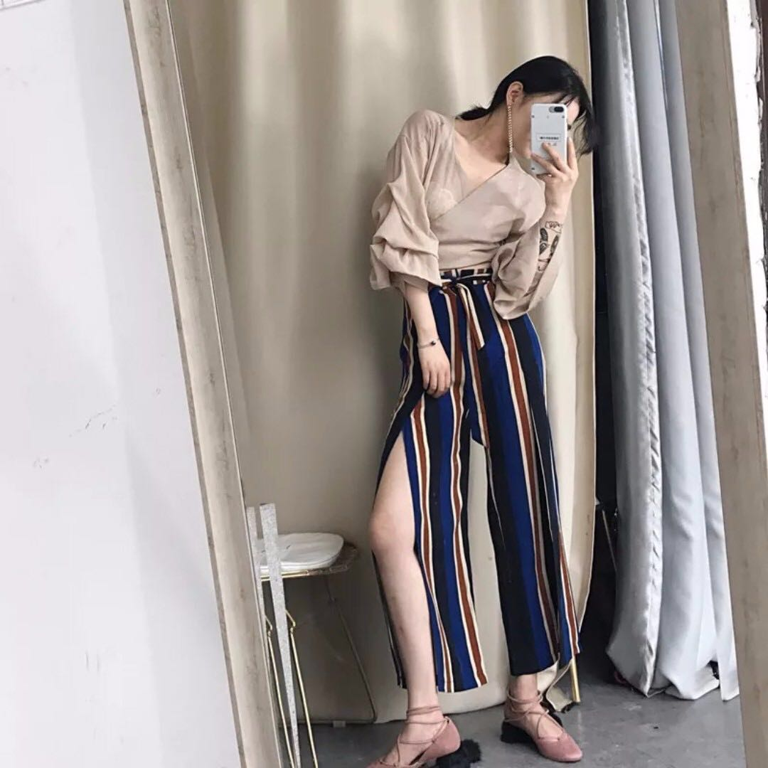 Brand New High-Waist Stripes Culottes