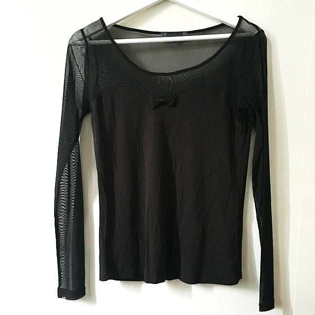 Cache Cache Black Sheer Top
