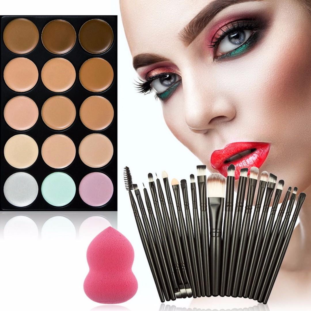 Concealer Palette Makeup Contour Face Cream 15 Color Professional + 20 Brush