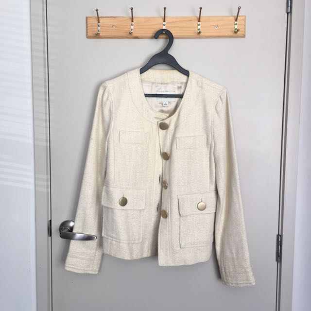 Cream and gold blazer/cardigan