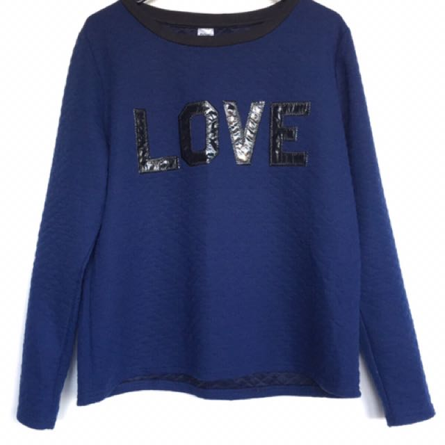 Dark Blue Long Sleeve Thin Sweater