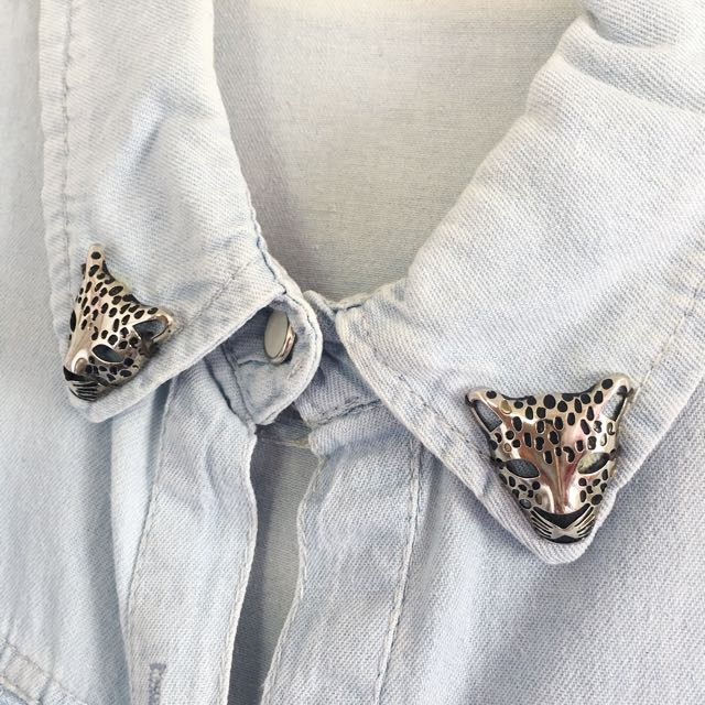 Denim Top with Leopard Details