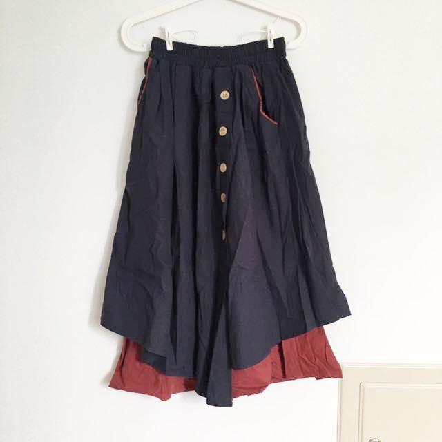 Ep造型雙層復古裙