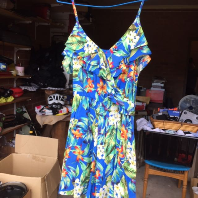 Forever new playsuit tropical blue size 8 jumpsuit