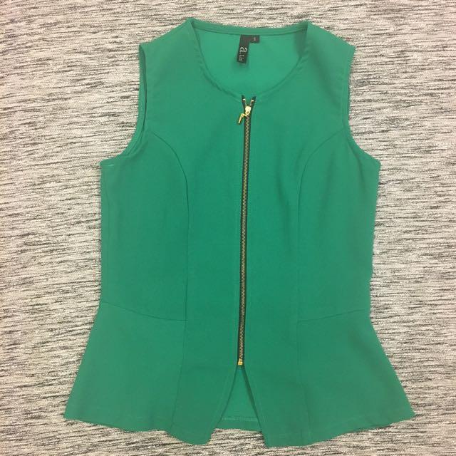 Green Sleeveless Peplum Top