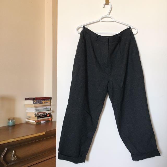Grey Wool Pleated Trouser Pants