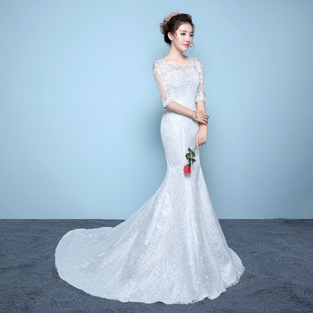 7c31182fa23d Half Sleeve Mermaid Wedding Dress, Women's Fashion, Bridal Wear on ...