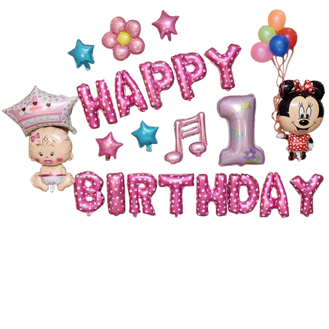 Happy Birthday Balloon Set First 1st Month Baby New Born Hello Kitty