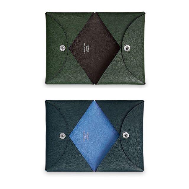 全新法國精品Hermes 雙色新款名片夾鈔票夾