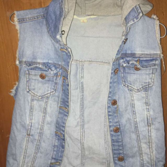 Hooded Jean Vest