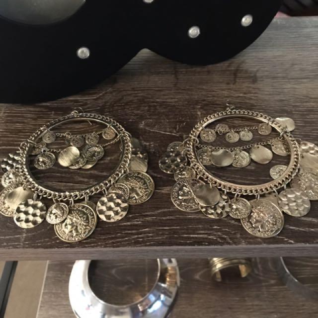 Hoop Gold Coin Gypsy Boho Earrings