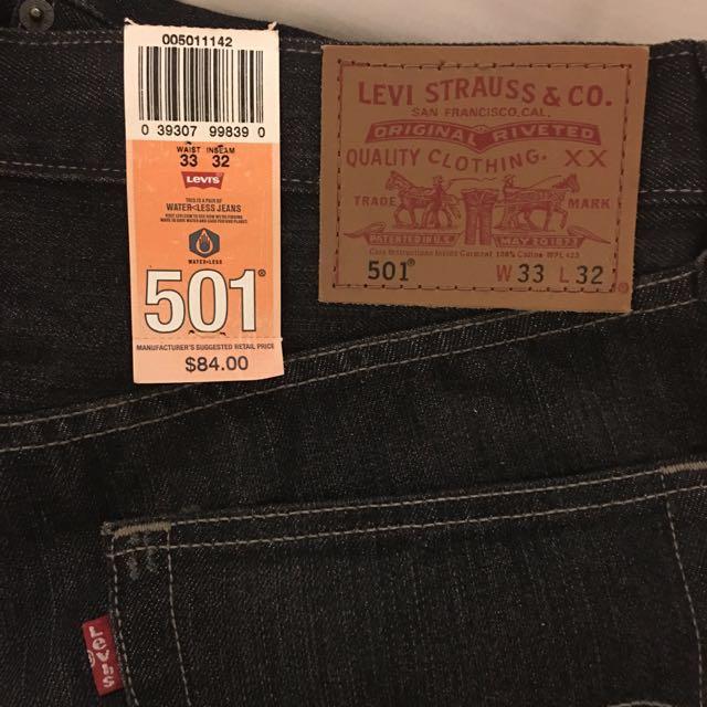 Levi's 501黑色微刷白牛仔褲