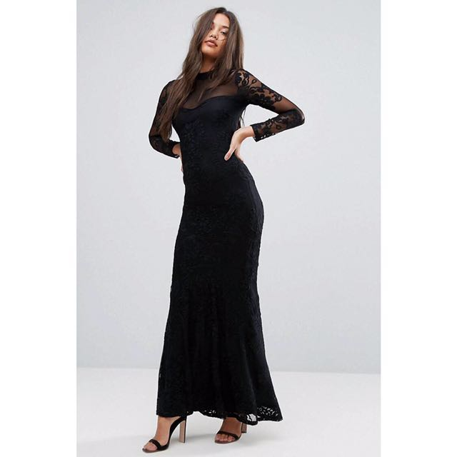 Lipsy ASOS dress size 10 worn once RRP$188 high neck long sleeve maxi wedding formal mermaid style