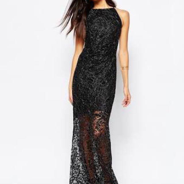 Lipsy Lace Glitter Maxi Dress In Black