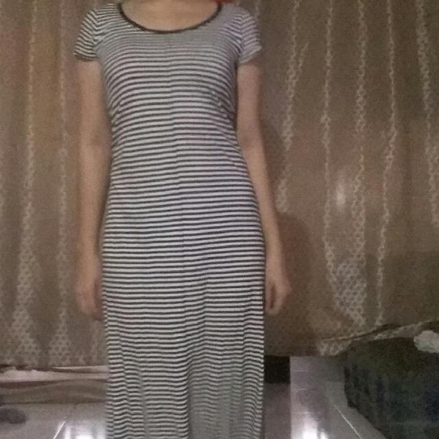 Long Stripe Dress(black And White)