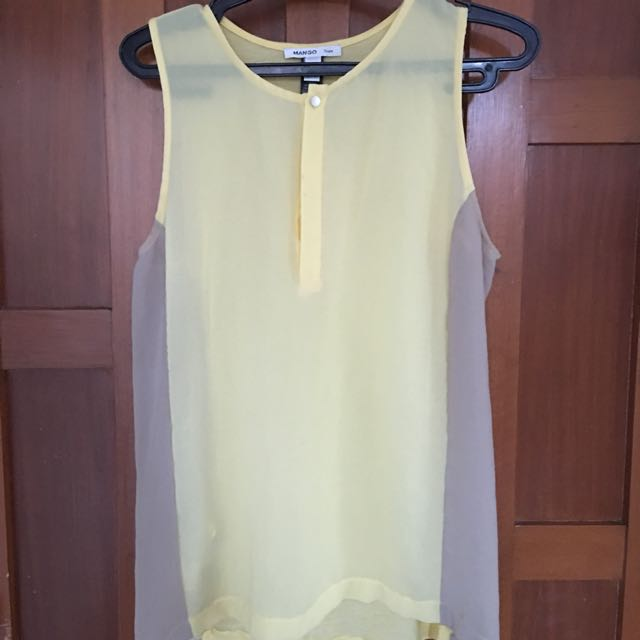 Mango yellow and beige Blouse size XS