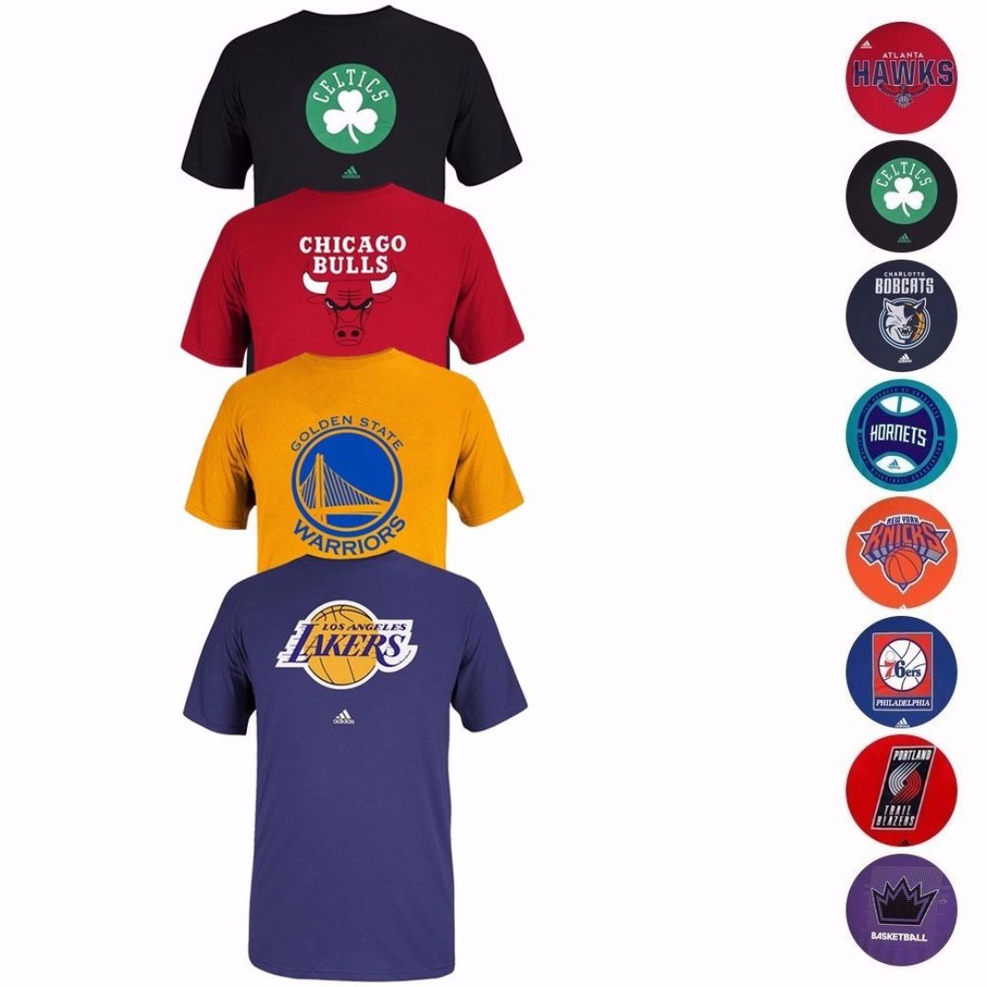 fda7446a99a3 NBA Various Team Color Primary Logo Wordmark Graphic T-Shirt by ...