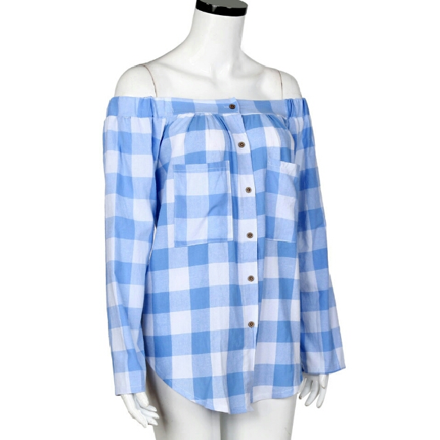 plaid off shoulder shirt