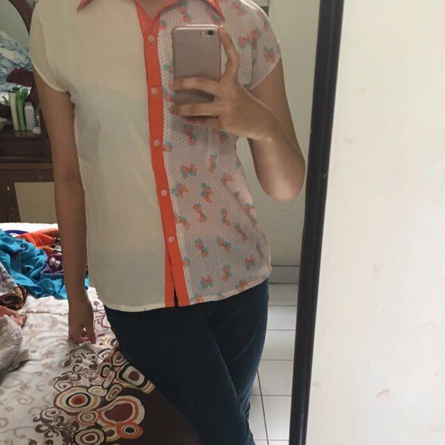 preloved kemeja blouse masih bagus putih orange