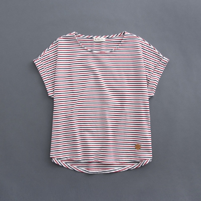 queenshop雙色條袖反摺連袖上衣 S