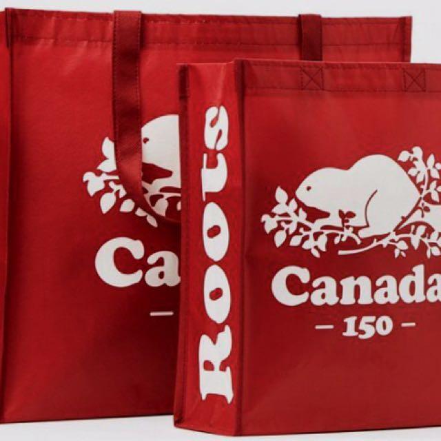 Roots Canada 150週年 環保 防水購物袋 提袋 深紅 海狸