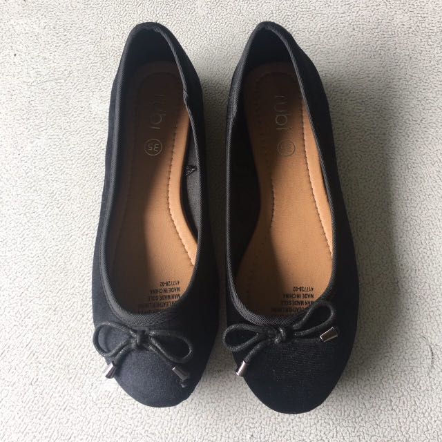 Rubi Shoes Black Flats with ribbon