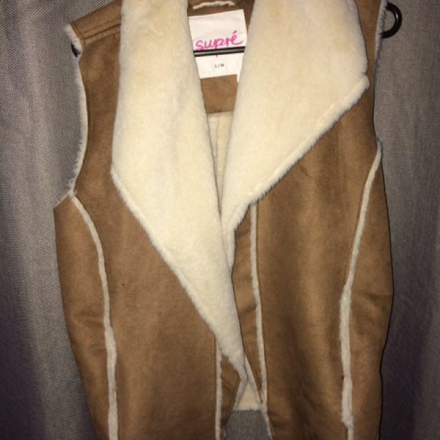 Suede/woolen vest
