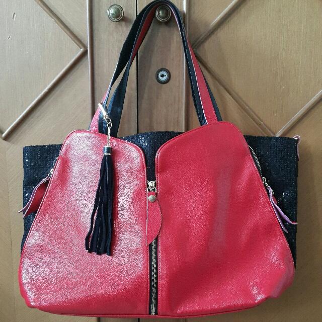 Tas Import Merah Hitam
