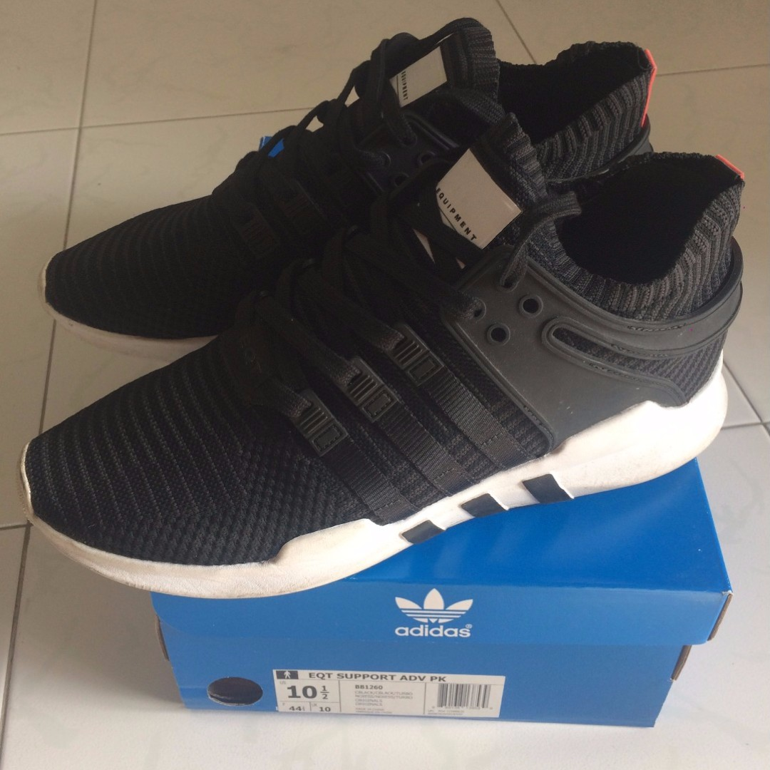 the latest dc852 d0fda US 10.5 Adidas Originals EQT Support Advance Trainers (Black)