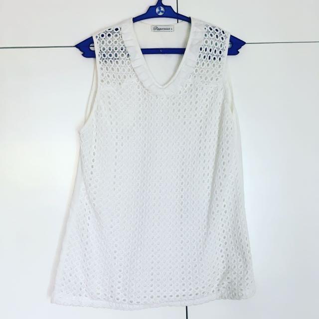 White eyelet blouse