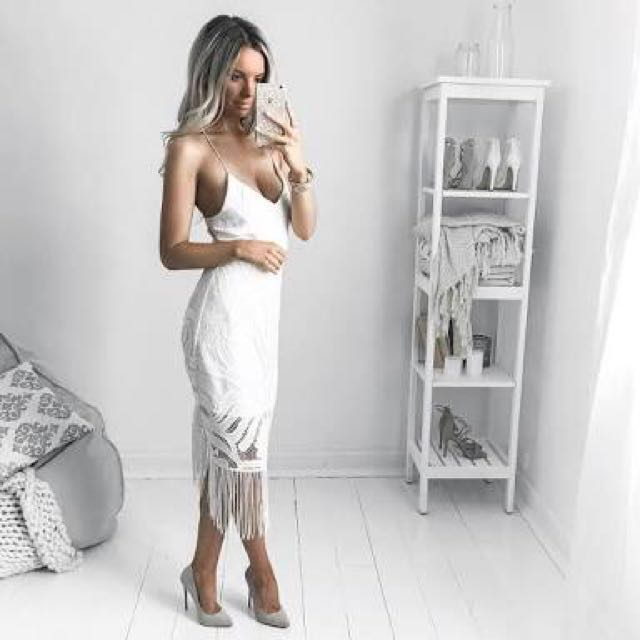 White Khaleesi Fitted Bodycon Dress