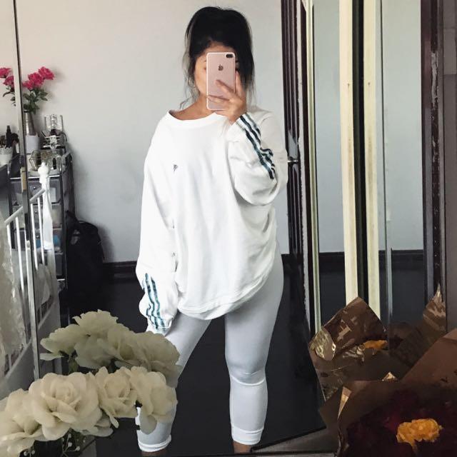 White Oversized Adidas Jumper