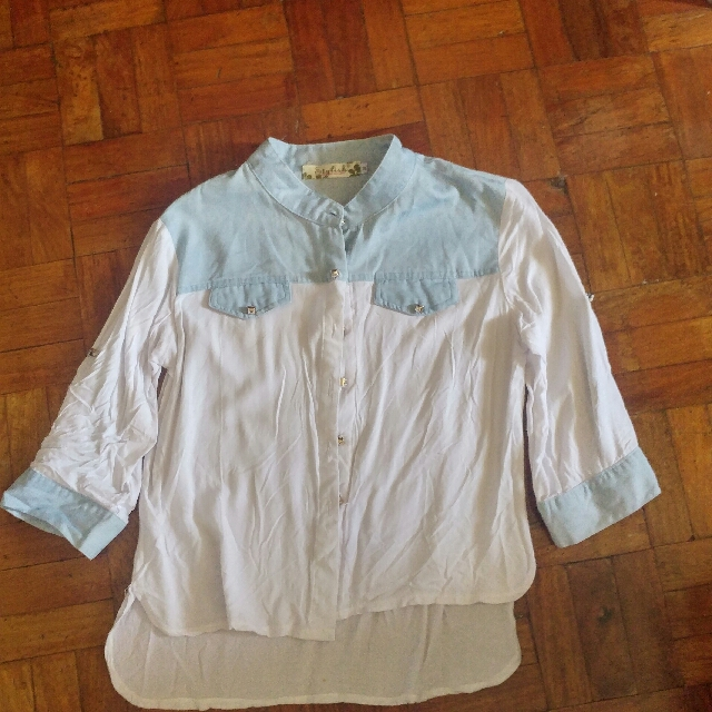 White with denim accent blouse