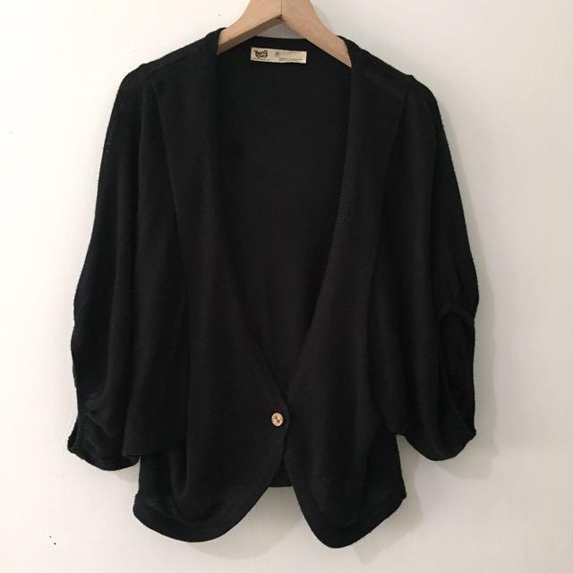 Young 黑 寬袖飛鼠袖罩衫