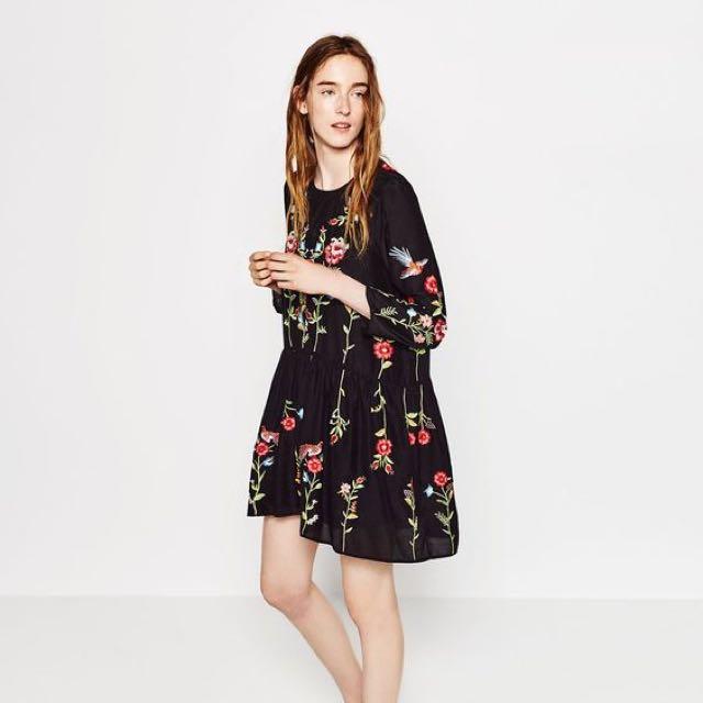 609740408e6 Zara Black Floral Embroidery Dress