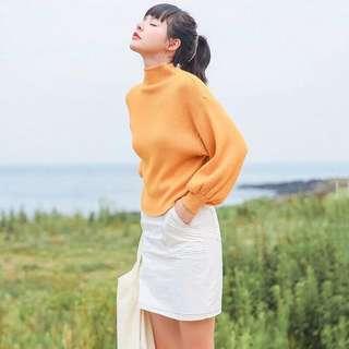 預購特價✨秋季日系暖暖套頭針織燈籠袖立領毛衣