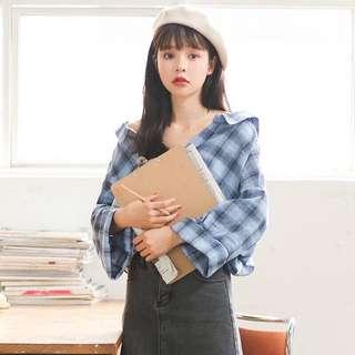 預購特價✨韓版氣質秋季雙V領兩穿小性感復古格紋格子襯衫上衣