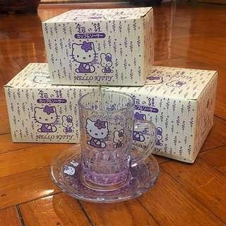 全新絕版 Hello Kitty 銀之鐘北海道薰衣草玻璃小茶杯連碟