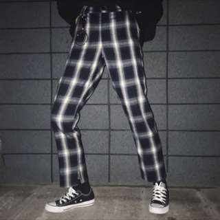 Black And White Checkered High Waisted Trousers
