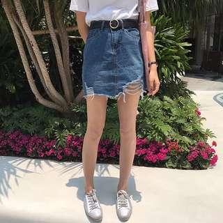 現貨!2017夏季新款A字包臀高腰破洞仿舊牛仔裙顯瘦