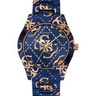 GUESS Women's Rose Gold - Tone Logo Blue Tone Bracelet Watch 39mm U0472L1