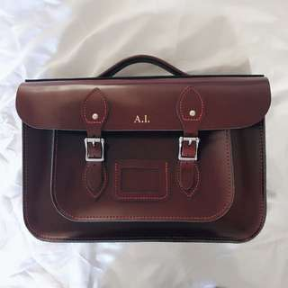 14 Inch Leather Satchel Co. Burgundy Color Bag