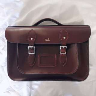 Leather satchel 14 inch briefcase bag